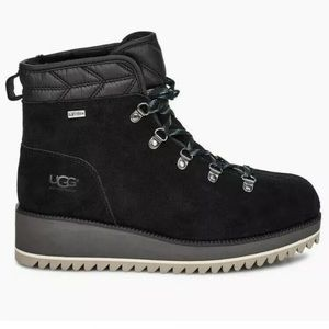 UGG Shoes - UGG Birch Lace Up Black Suede Boot Winter Bootie